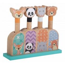 Zabawka drewniana Pop up Animals