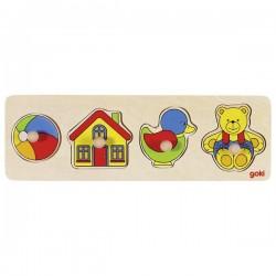 Układanka z zabawkami - zabawka drewniana Goki